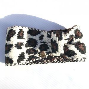 Betsey Johnson Knit Leopard Print Ear Warmers